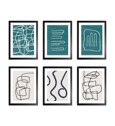 Set de 6 cuadros abstractos líneas
